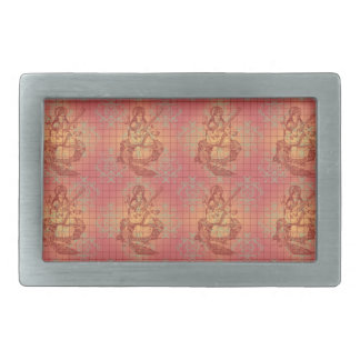 red yellow hindu Goddess Saraswati Wisdom India Rectangular Belt Buckle