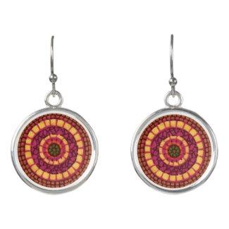 Red Yellow Mosaic Mandala Abstract Drop Earrings