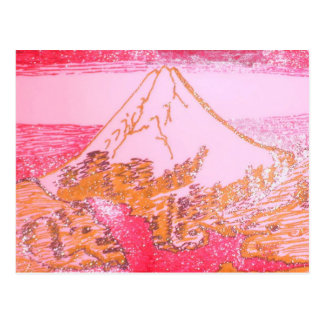 Red Yellow Mt. Fuji Japan Drawing of Hokusai Paint Postcard