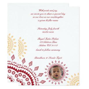 Baby naming ceremony invitations zazzle red yellow namkaran baby naming invitations maxwellsz
