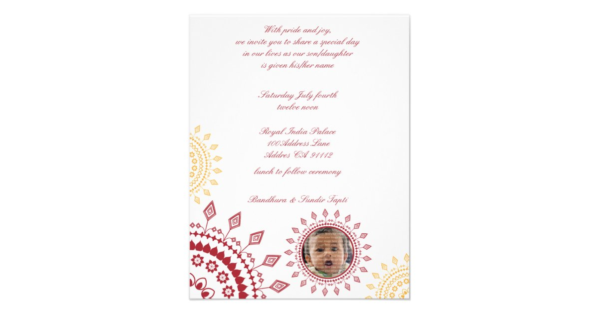 Red & Yellow Namkaran Baby Naming Invitations