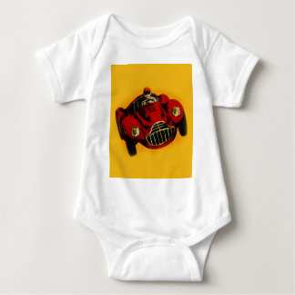Red Yellow Old Auto Racing Car Baby Bodysuit