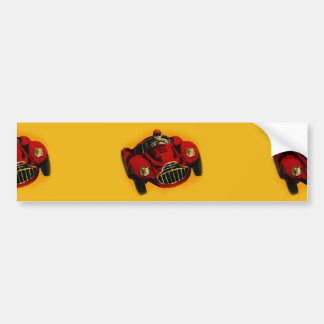 Red Yellow Old Auto Racing Car Bumper Sticker