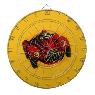 Red Yellow Old Auto Racing Car Dartboard With Darts