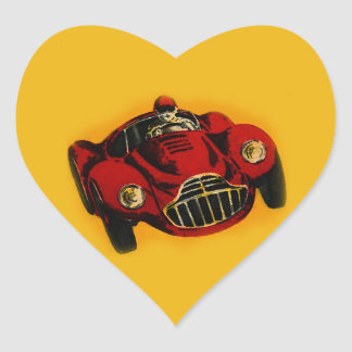 Red Yellow Old Auto Racing Car Heart Sticker