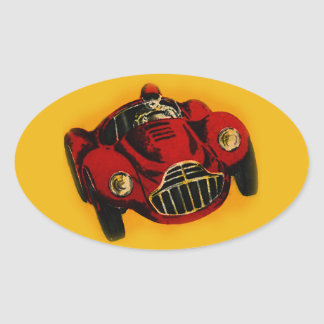 Red Yellow Old Auto Racing Car Oval Sticker
