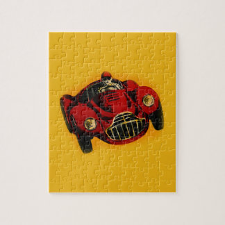 Red Yellow Old Auto Racing Car Jigsaw Puzzle