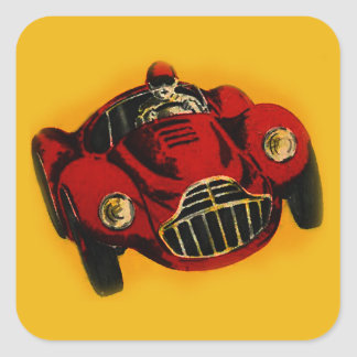 Red Yellow Old Auto Racing Car Square Sticker