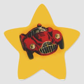Red Yellow Old Auto Racing Car Star Sticker