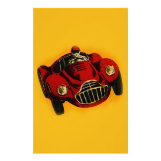 Red Yellow Old Auto Racing Car Stationery