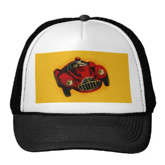 Red Yellow Old Auto Racing Car Trucker Hat