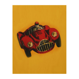 Red Yellow Old Auto Racing Car Wood Canvas