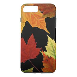 Red Yellow Orange Autumn Leaves on Black iPhone 7 Plus Case