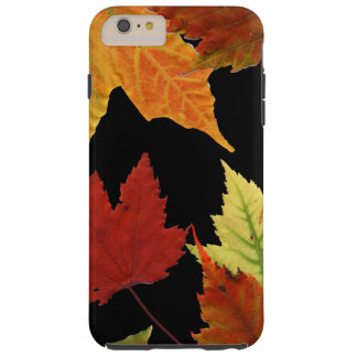Red Yellow Orange Autumn Leaves on Black Tough iPhone 6 Plus Case