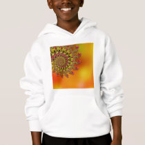 Red Yellow & Orange Bokeh Fractal Pattern Hoodie