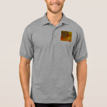 Red Yellow & Orange Bokeh Fractal Pattern Polo Shirt