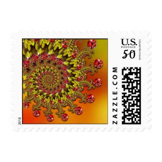 Red Yellow & Orange Bokeh Fractal Pattern Postage