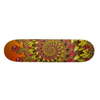 Red Yellow & Orange Bokeh Fractal Pattern Skateboard