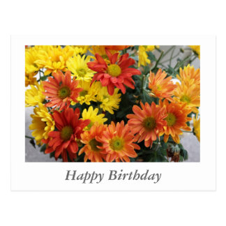 Red, yellow, orange daisy flowers happy bithday postcard