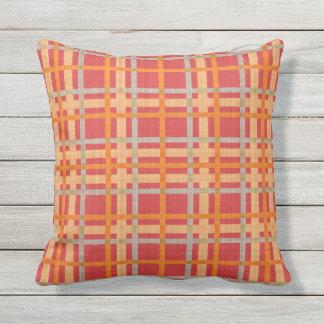Red Yellow Orange Diamond Argyle Plaid Pattern Outdoor Pillow