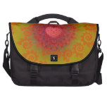 Red Yellow & Orange Heart Fractal Bags For Laptop