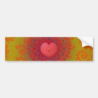Red Yellow & Orange Heart Fractal Bumper Sticker