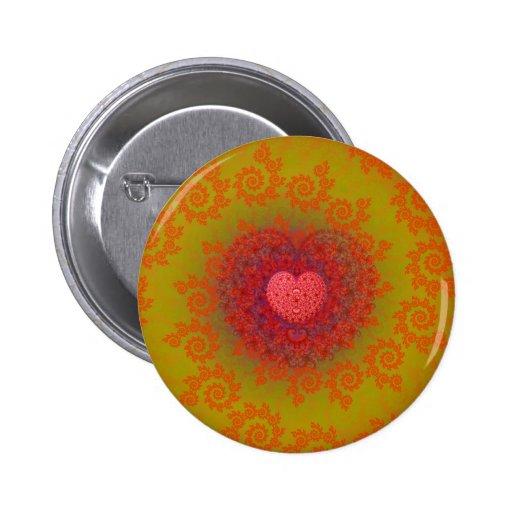 Red Yellow & Orange Heart Fractal Button