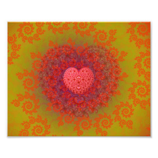Red Yellow & Orange Heart Fractal Photo Print