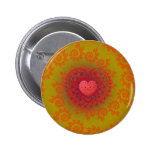 Red Yellow & Orange Heart Fractal Pinback Buttons