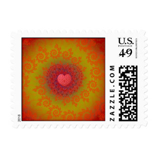Red Yellow & Orange Heart Fractal Postage
