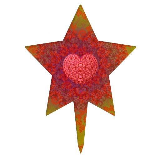 Red Yellow & Orange Heart Fractal Star Cake Pick