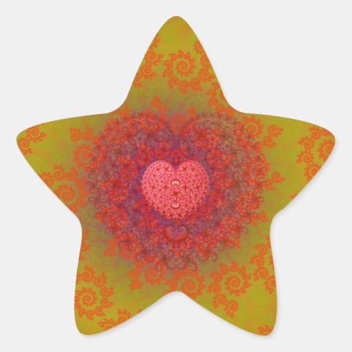 Red Yellow & Orange Heart Fractal Star Sticker
