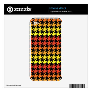 Red yellow orange houndstooth pattern skin for iPhone 4S