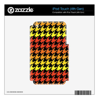 Red yellow orange houndstooth pattern skin for iPod touch 4G
