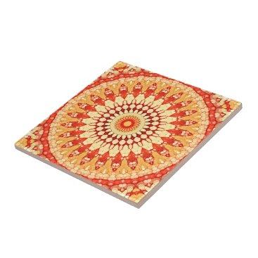 LolasClassyCeramics Red Yellow Orange Summer Sun Mandala Pattern Tile