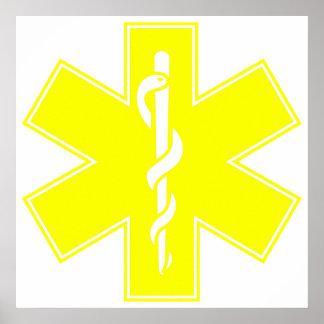 Red Yellow Orange White Nurse EMS Star of Life Poster