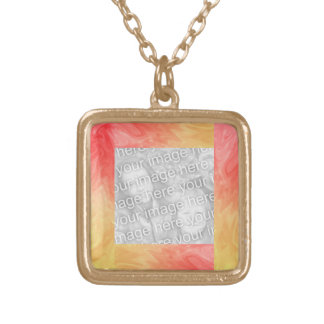 Red Yellow Photo Frame Square Pendant Necklace