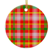 Red Yellow Pink and Green Tartan Ornament