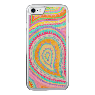 Red Yellow Pink Boho Paisley Pattern Carved iPhone 7 Case