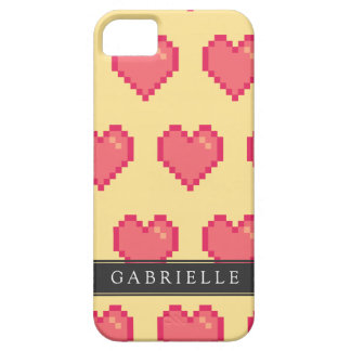 Red Yellow Pixel Heart Pattern iPhone SE/5/5s Case