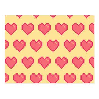 Red Yellow Pixel Heart Pattern Postcard