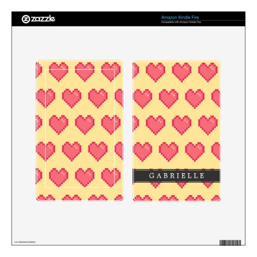 Red Yellow Pixel Heart Pattern Decals For Kindle Fire