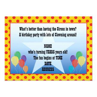 Red Yellow Polka Dots Clown Party Invitation