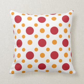 Red Yellow Polka Dots Pattern Throw Pillows
