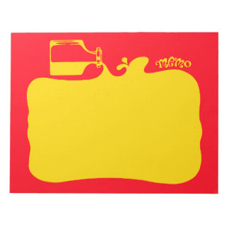 Red & Yellow Primary Ink Colors, Retro Bright Note Pad