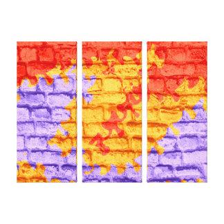 Red Yellow Purple Pastel Brick Wall Canvas Print