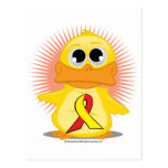 Red & Yellow Ribbon Duck Post Cards