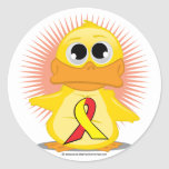 Red & Yellow Ribbon Duck Round Stickers