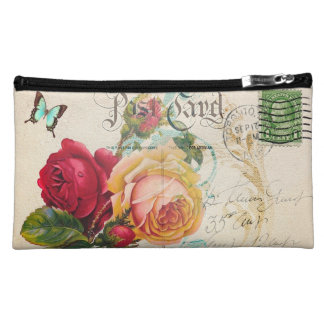 Red & Yellow Rose Sueded Medium Cosmetic Bag