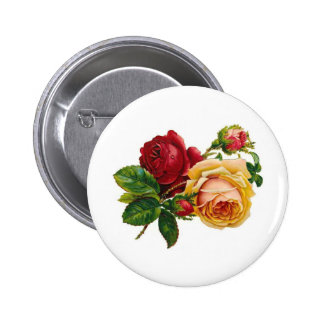 Red & Yellow Roses Pinback Button